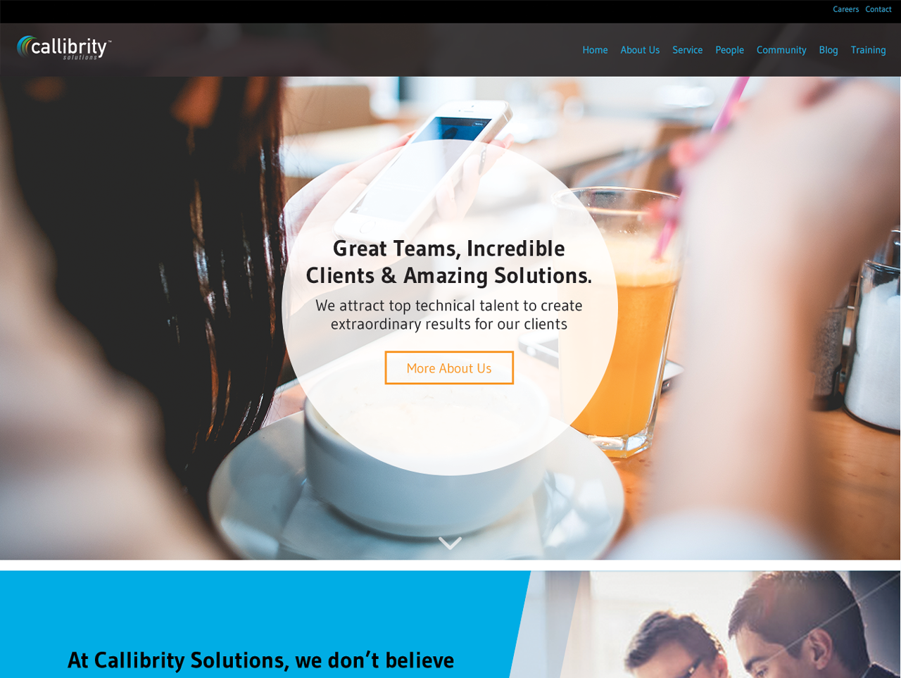 Homepage Design for Callibrity Solutions Website